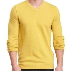Vince Yellow 100% Cashmere V-Neck Sweater